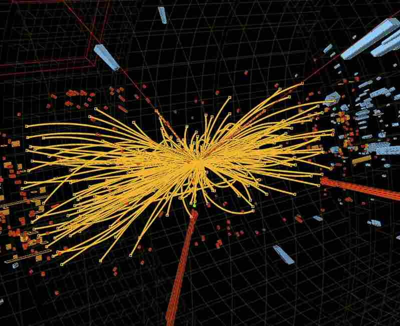 An undated handout graphic distributed on July 4, 2012 by the European Organization for Nuclear Research (CERN) in Geneva shows a representation of traces of traces of a proton-proton collision measured in the Compact Muon Solenoid (CMS) experience in the search for the Higgs boson.