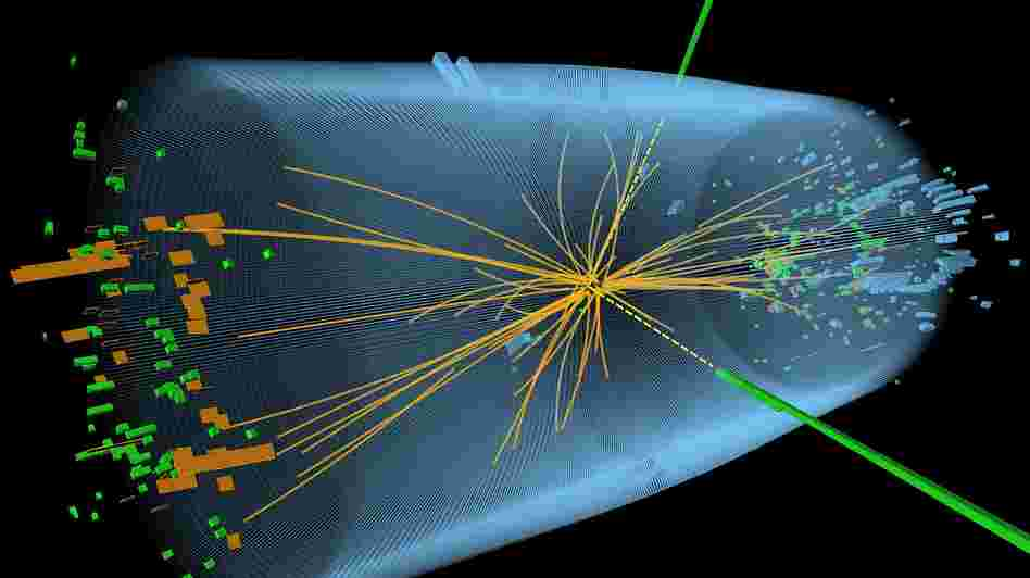 This graphic depicts a proton-proton collision from the search for the Higgs boson particle.