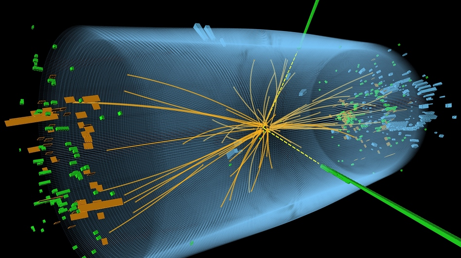 This graphic depicts a proton-proton collision from the search for the Higgs boson particle. (AFP/Getty Images)