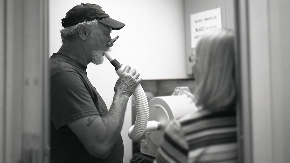 Coal miners are tested for black lung at a clinic in West Virginia. (David Deal for NPR)