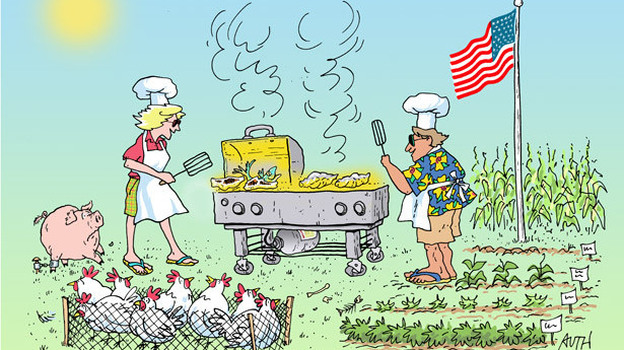 Bridget Lancaster and Jack Bishop prepare a traditional summer barbecue, as imagined by WHYY's artist-in-residence, Tony Auth. (Tony Auth)