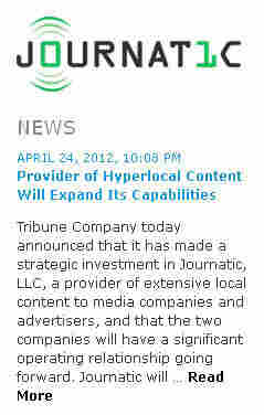A screenshot of the Journatic website, announcing the company's deal with the Tribune Co.