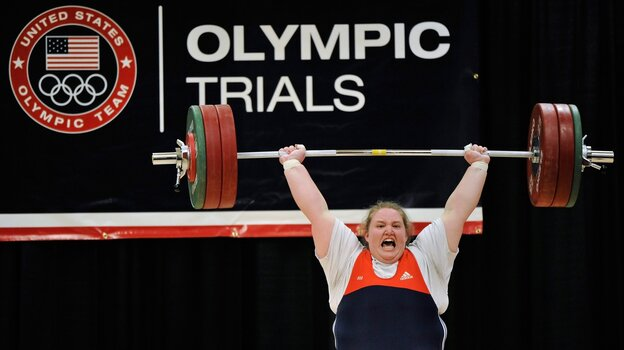 "Holley Mangold successfully completes the 145 kilogram ""clean and jerk"" lift at the trials for the U.S. Olympic women's weightlifting team in March. Mangold"