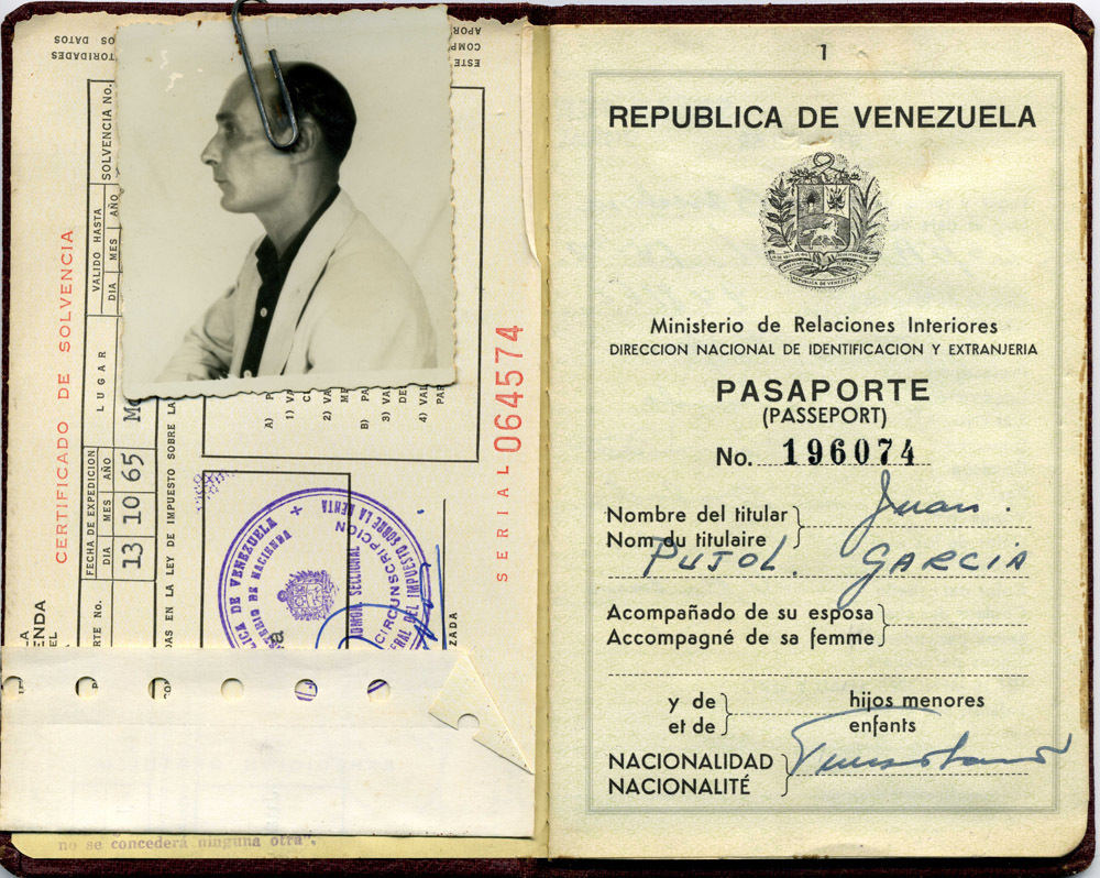 The former spy's Venezuelan passport.