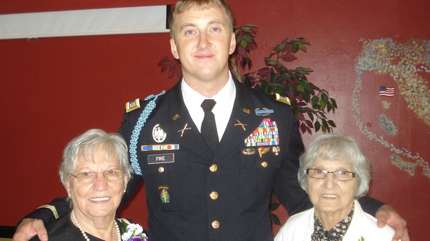 Capt. Zachariah Fike helped reunite sisters Adeline Rockko (left) and Mary Piccoli with the Purple Heart medal of their late brother, Army Pvt. Corrado Piccoli. (Courtesy of Zachariah Fike)