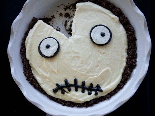 A Tim Burton-inspired lemon cream pie with chocolate crumb crust in the 2011 Good Food Pie Contest.