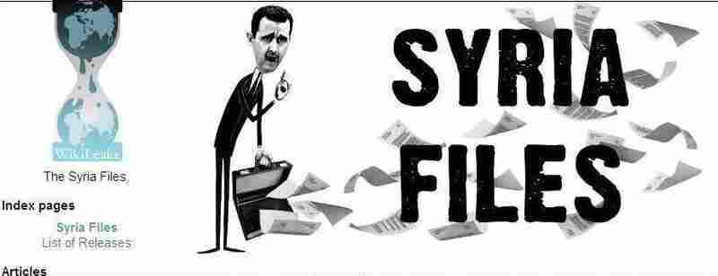 "WikiLeaks' webpage for its ""Syria Files."""