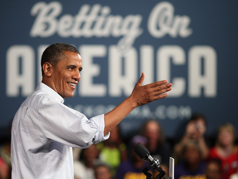 President Obama speaks Friday at a campaign event in Poland, Ohio. (Getty Images)