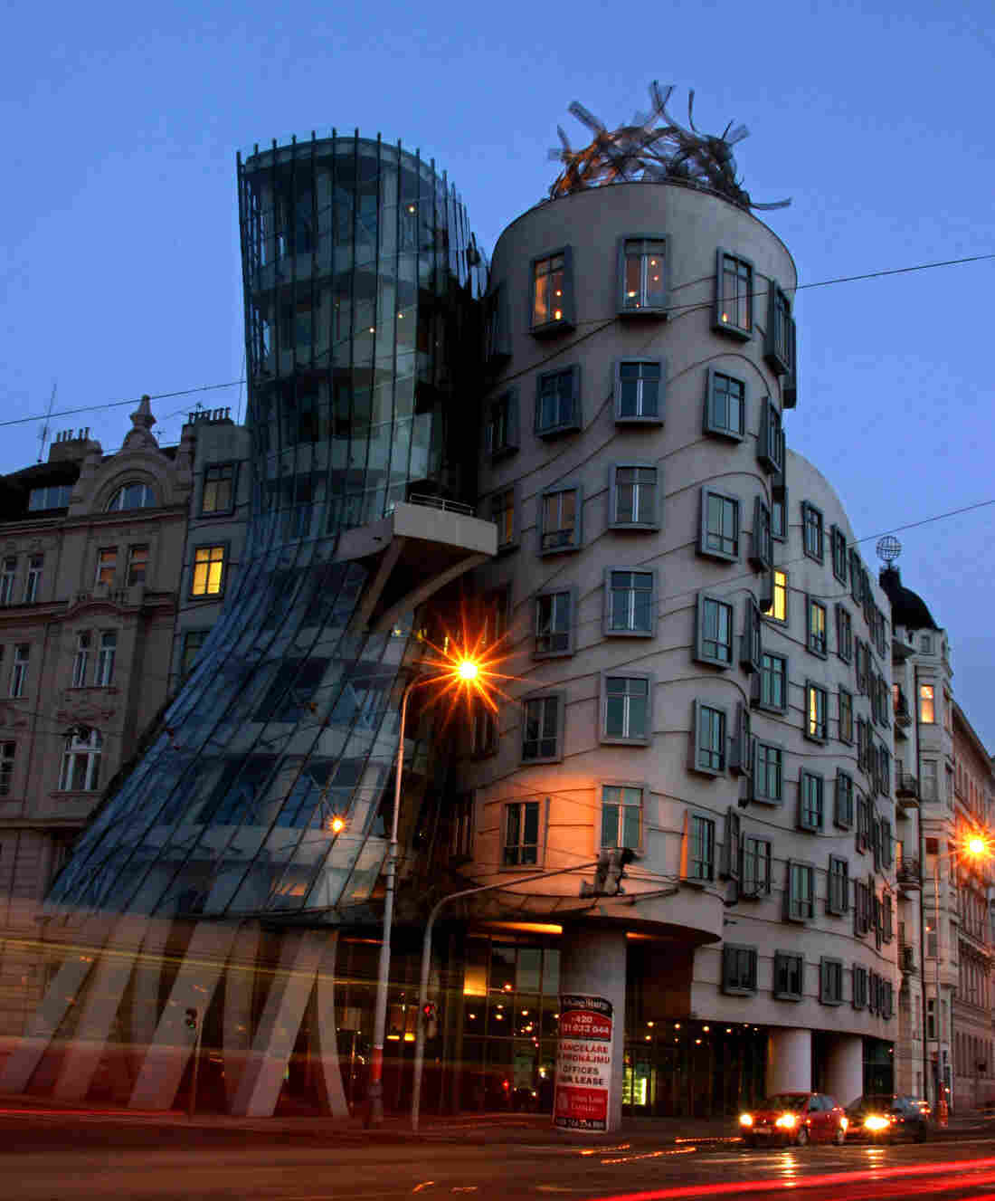 """The """"Fred And Ginger"""" dancing building in Prague, Czech Republic"""