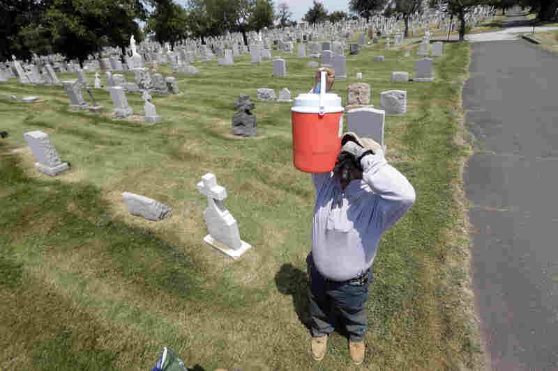 Domingo Vasquez, 36, drinks from a cooler while taking a break from mowing the lawn at Holy Sepulchre Cemetery in East Orange, N.J. Vasquez, who is originally from the Dominican Republic, said he doesn't mind the heat because he grew up with it.
