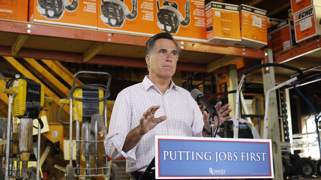 Republican presidential candidate Mitt Romney speaks about the monthly jobs report Friday in Wolfeboro, N.H. (AP)