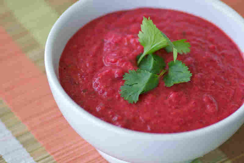 Gingery Roasted Beet And Sweet Potato Soup