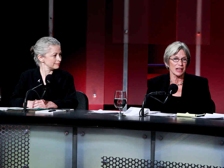 "Deborah Goldberg (left) and Katherine Hudson argue in favor of the motion ""The Natural Gas Boom Is Doing More Harm Than Good."""