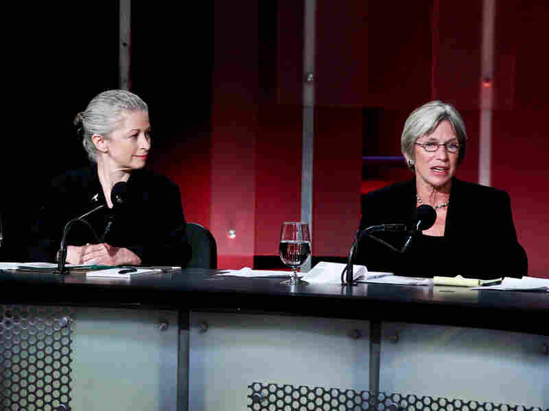 """Deborah Goldberg (left) and Katherine Hudson argue in favor of the motion """"The Natural Gas Boom Is Doing More Harm Than Good."""""""