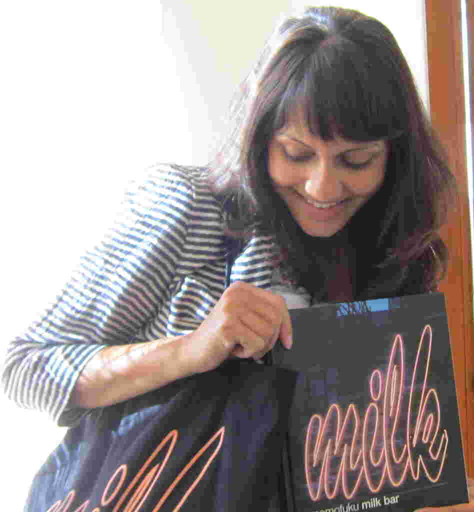 Ask Me Another winner Anagha Apte shows off her Milk Bar swag.
