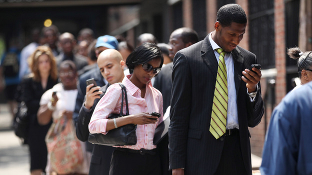 The line at a job fair in New York City last month. (Getty Images)