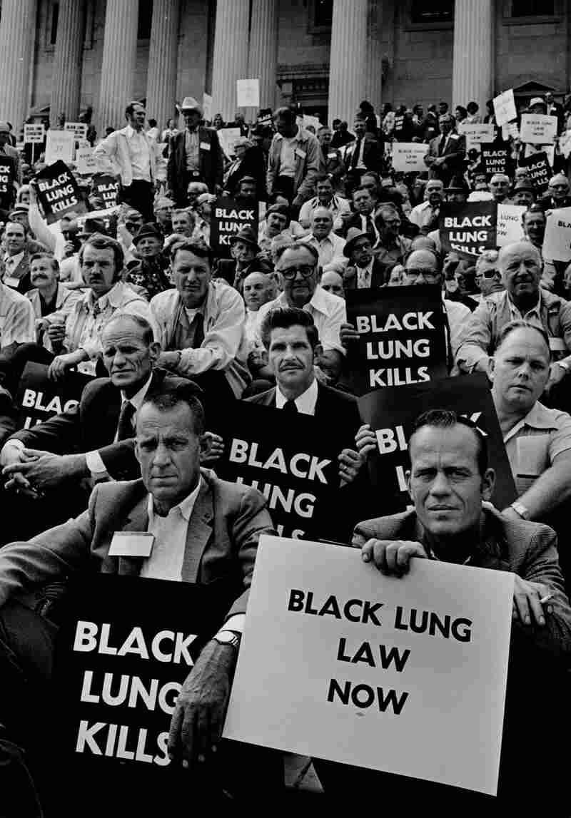 Coal miners rally for black lung law on the steps of the U.S. Capitol in 1975.
