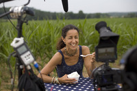 Filmmaker Julie Winokur sits at