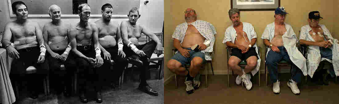Coal miners in 1976 (left) and 2011 (right) wait to be tested for black lung.