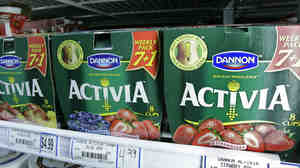 Packages of Activa yogurt, which contain