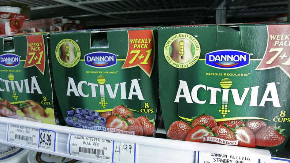 Packages of Activa yogurt, which contain probiot