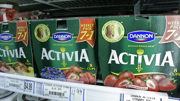 Packages of Activa yogurt, which contain probiotics, on a grocery shelf in Chicago. (AP)