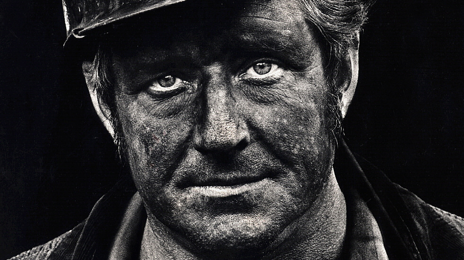 Coal miner Lee Hipshire in 1976, shortly after emerging from a mine in Logan County, W.Va. at the end of his shift. At age 36, he had worked 26 years underground. A few years later, Lee took early retirement because of pneumoconiosis, or black lung disease. He died at 57. (Courtesy of Earl Dotter)