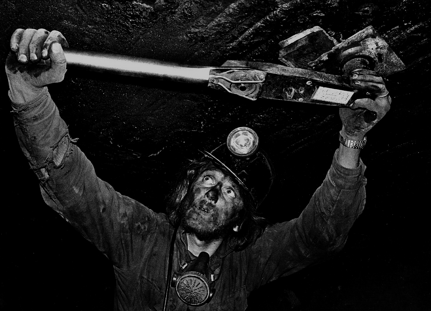 Buck Koptchak tests the torque on a coal mine roof expansion bolt in Clearfield County, Pa. Two years earlier, his father was killed doing the same job.