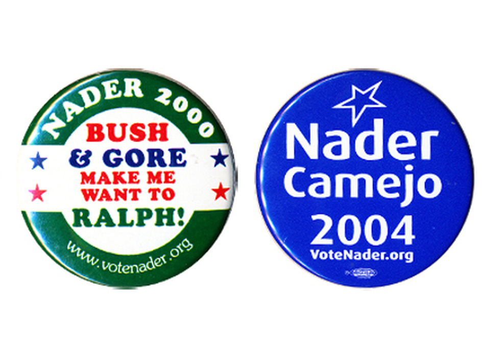 Ralph Nader as a presidential candidate dates back to 1972.  After 2000 he left the Green Party and ran as an independent in '04 and '08. (Ken Rudin collection)