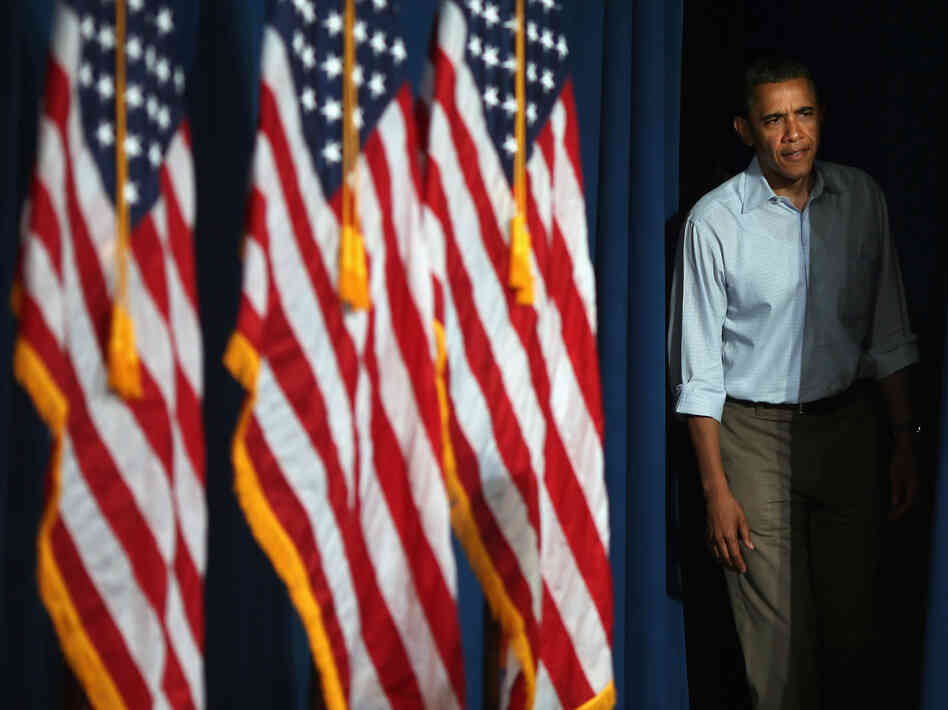 "President Obama steps onstage before a campaign event in Poland, Ohio. He recently underlined the importance of campaign finances to supporters in an email that began, ""I will be outspent."""