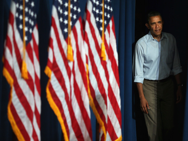 President Obama steps onstage before a campaign event in Poland, Ohio. He recently underlined the importance of campaign finances to supporters in an email that began,