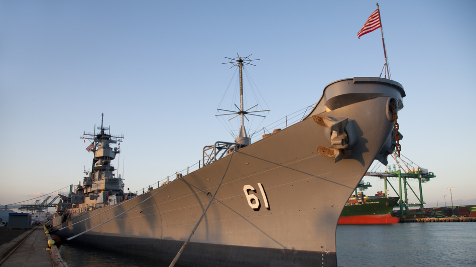 The USS Iowa, berthed at its new permanent home in the Port of Los Angeles in San Pedro, Calif. The decommissioned ship will now be a museum. (Pacific Battleship Center)