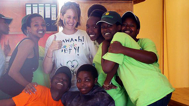 Jennifer Larr (center) is seen here in Rwanda at the Gashora Girls Academy, where she was a teacher in 2011. Larr is part of a new generation of young adults focusing on travel, studying abroad and global experiences. (Courtesy of Jennifer Larr)