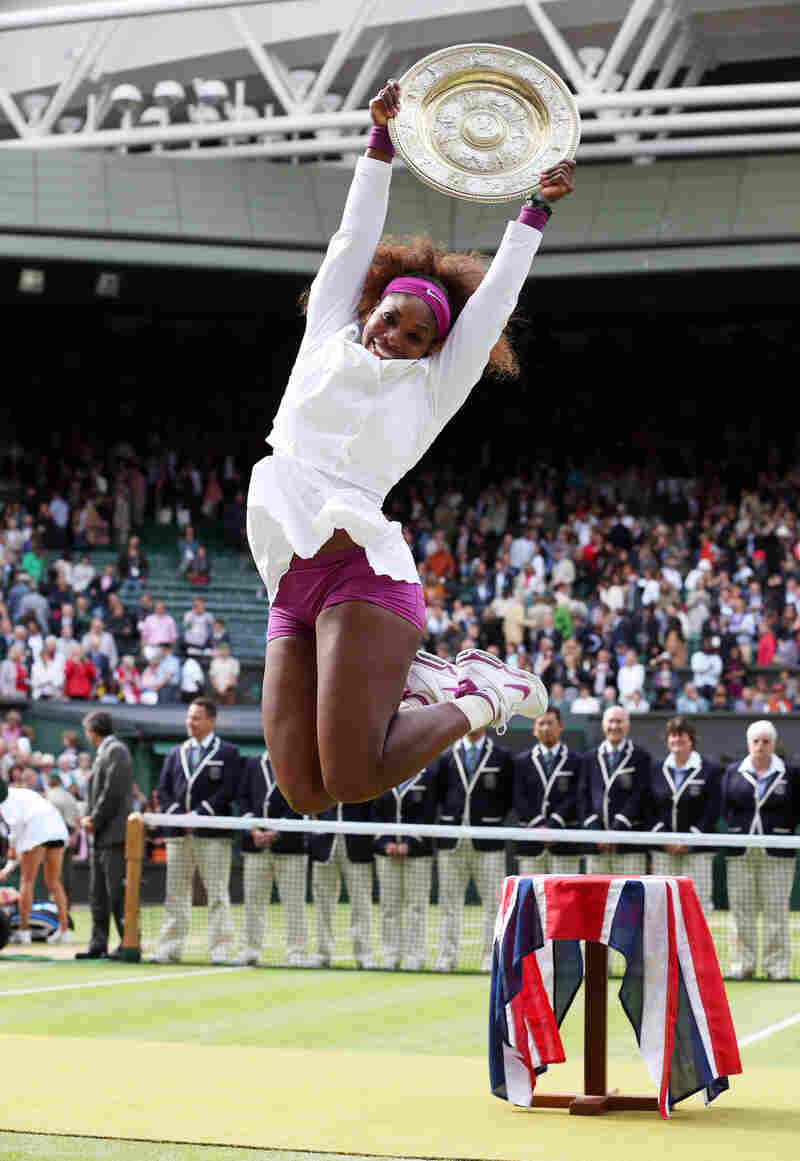 Serena Williams of the U.S. celebrates after her women's singles final match victory on Saturday at Wimbledon.