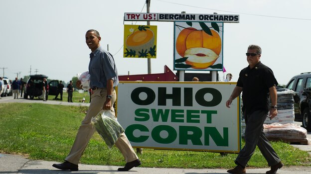 President Obama at a stop on his bus tour of Ohio in Port Clinton on July 5. (AFP/Getty Images)