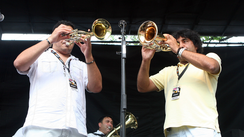 Boban i Marko Markovic Orkestar performs onstage in 2008. (Getty Images)