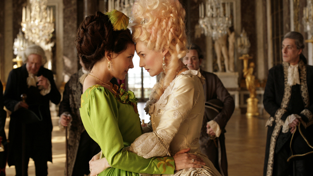 Gabrielle de Polignac (Virginie Ledoyen, left) is the  close, possibly intimate, friend of Marie Antoinette (Diane Kruger) — and the two are the bane of the approaching revolutionaries in Farewell, My Queen. (Cohen Media Group)
