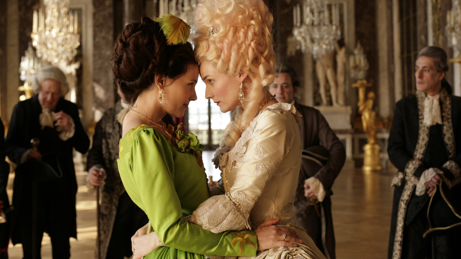Gabrielle de Polignac (Virginie Ledoyen, left) is the  close, possibly intimate, friend of Marie Antoinette (Diane Kruger) — and the two are the bane of the approaching revolutionaries in <em>Farewell, My Queen</em>.