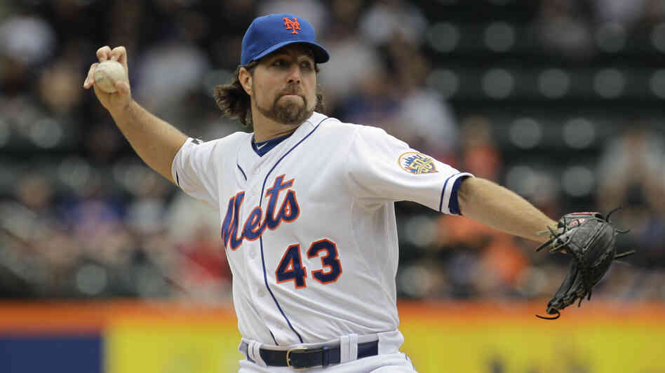 New York Mets pitcher R.A. Dickey delivers his signatur