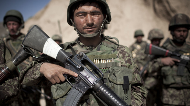 Afghan army soldiers, like the one pictured here, will be responsible for protecting Kabul and holding critical cities and roads together after the planned 2014 American troop withdrawal. (AP)