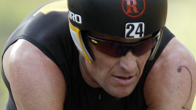 Lance Armstrong competes in the Ironman Panama 70.3. triathlon in Panama City, Panama. (AP)