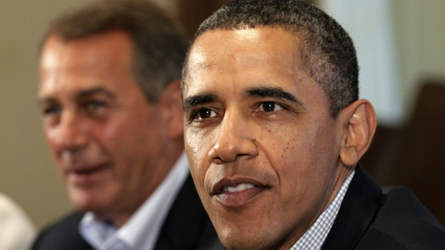 President  Obama and House Speaker John Boehner, R-Ohio, at the White House in July 2011. (AP)