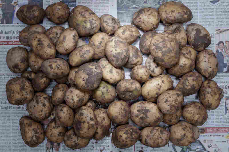 India: 32 rupees , or 60 cents U.S., of potatoes.