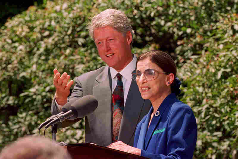 President Bill Clinton announces Ginsburg as his nominee to the Supreme Court during a news conference in Washington, D.C., in June 1993. Ginsburg replaced retired Justice Byron White and became the nation's second female justice.