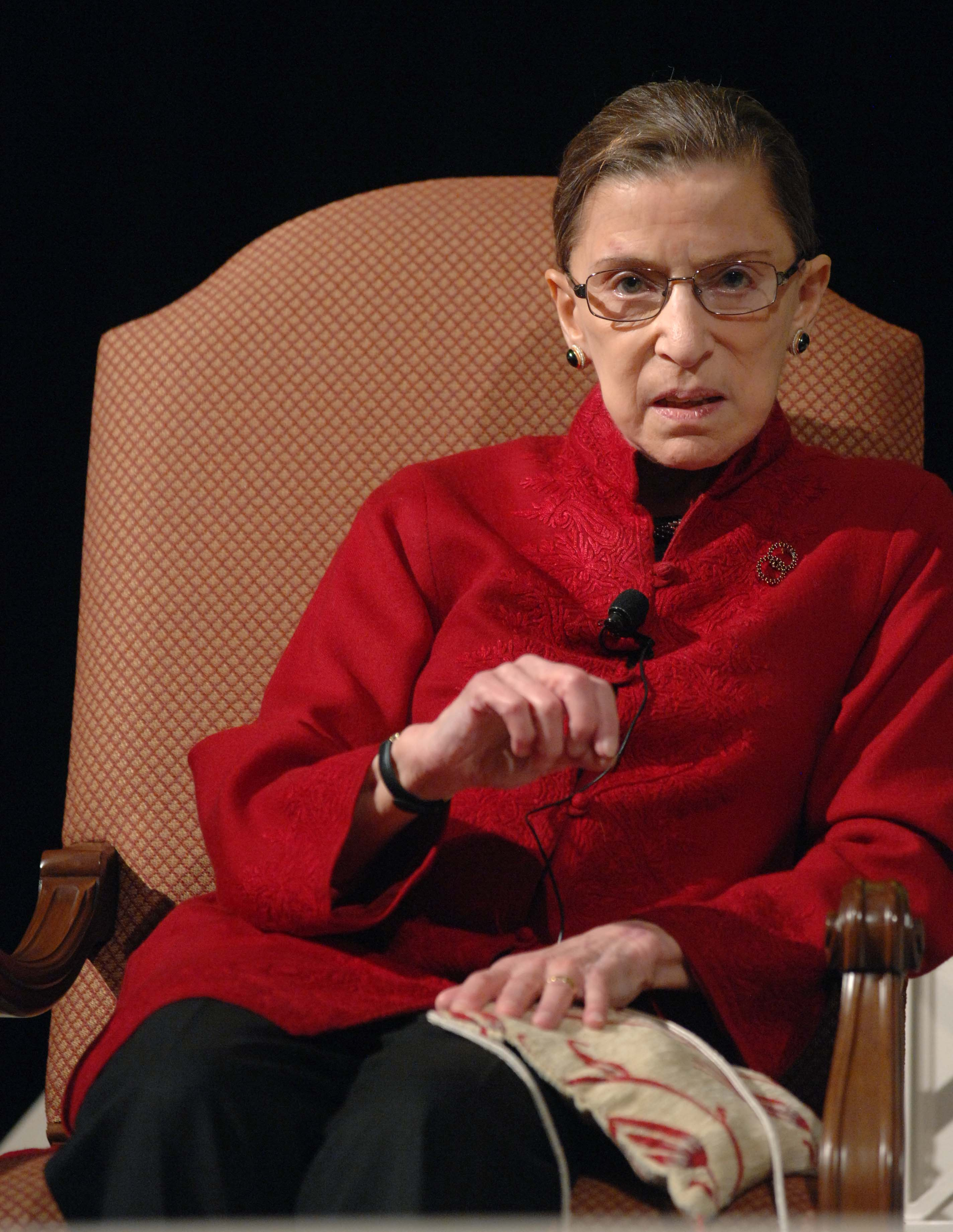 Ginsburg talks with filmmaker David Grubin about his PBS series, <em>The Jewish Americans</em>, in 2008.