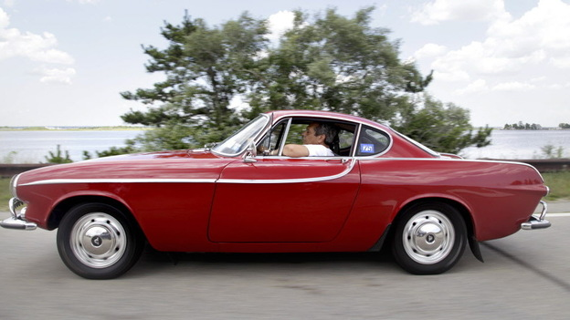 Irv Gordon in his trusty Volvo P1800S earlier this month. (AP)