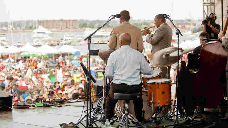 Wynton Marsalis' ensemble performs at the Newport Jazz Festival.