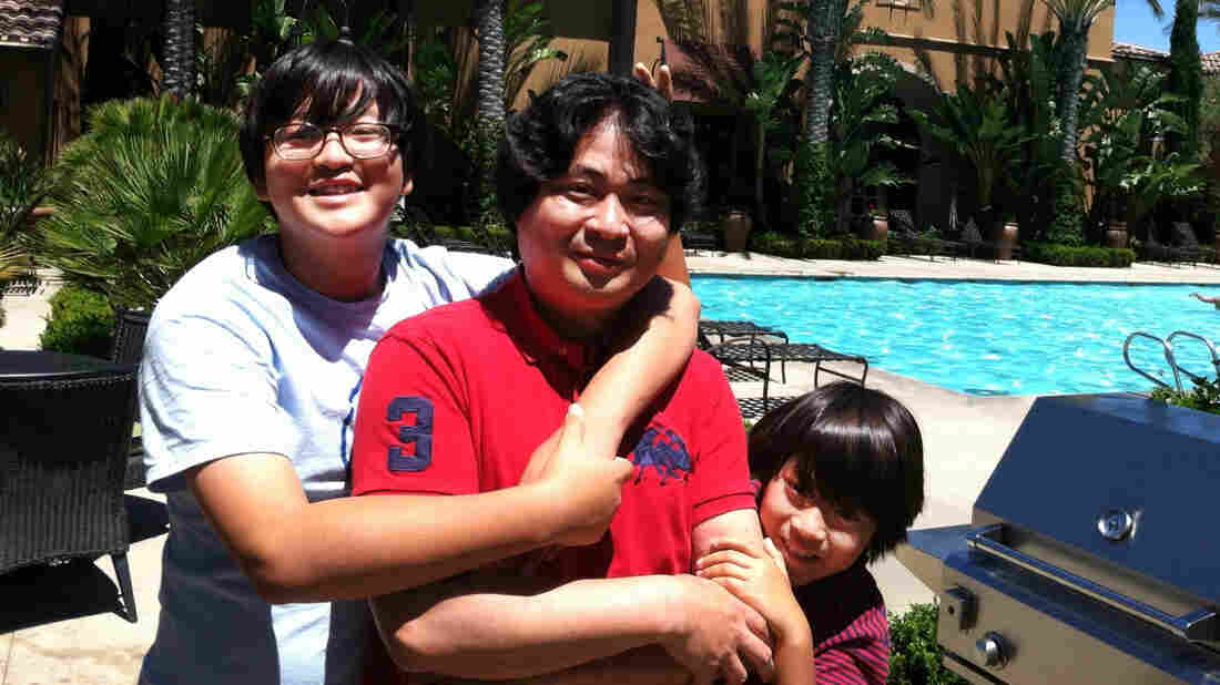 "Hyungsoo Kim brought his sons Woosuk (left) and Whoohyun to California from Korea so the boys could get an American public-school education. In ""goose families,"" one parent migrates to an English-speaking country with the children, while the other parent stays in Korea."