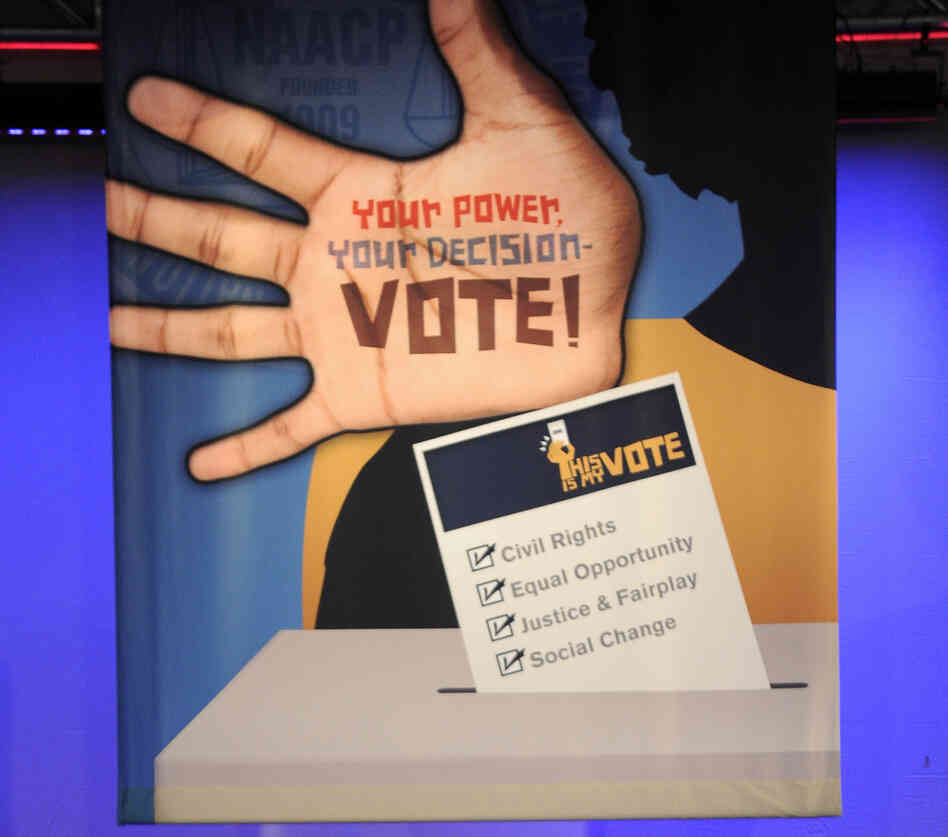 A sign at the NAACP annual convention in Houston, where Mitt Romney is scheduled to speak on Wednesday.
