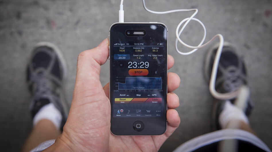 Pedometer, an app, keeps track of your steps, distance traveled and calories burned. (NPR)